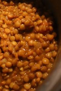 Lentils in pot after prepared