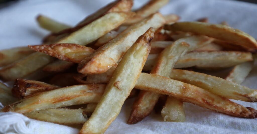 Crispy Homemade Air Fryer French Fries close up