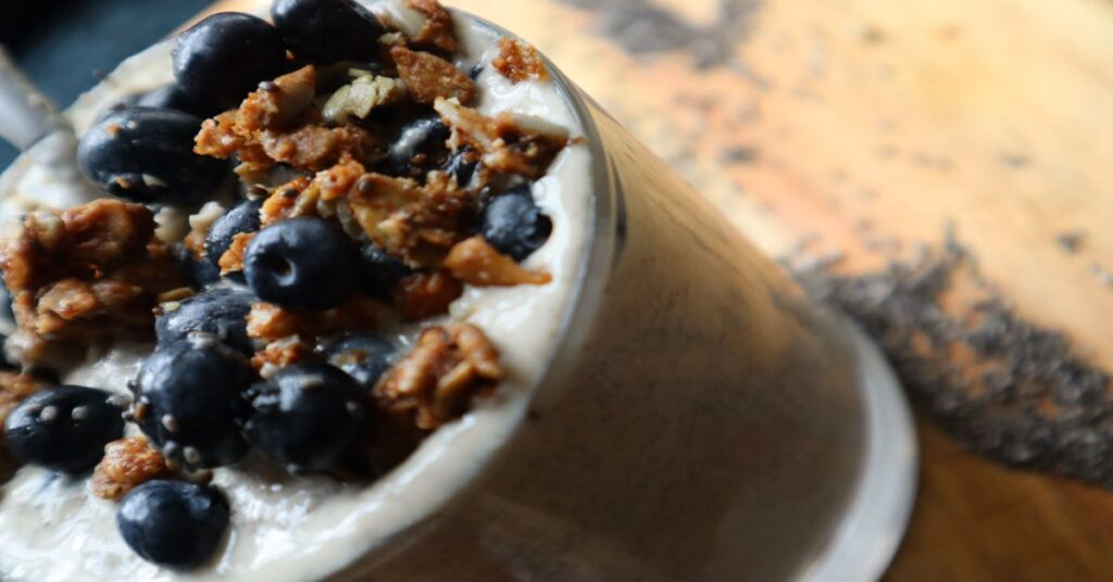 Vegan Cashew Butter Chia Seed Pudding Topped with Blueberries